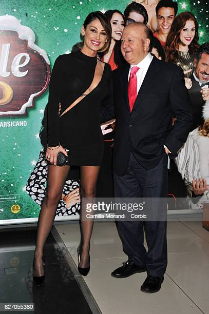 Anna Tatangelo and Massimo Boldi attend 'Un Natale Al Sud' Red Carpet In Rome on December 1 2016 in Rome Italy