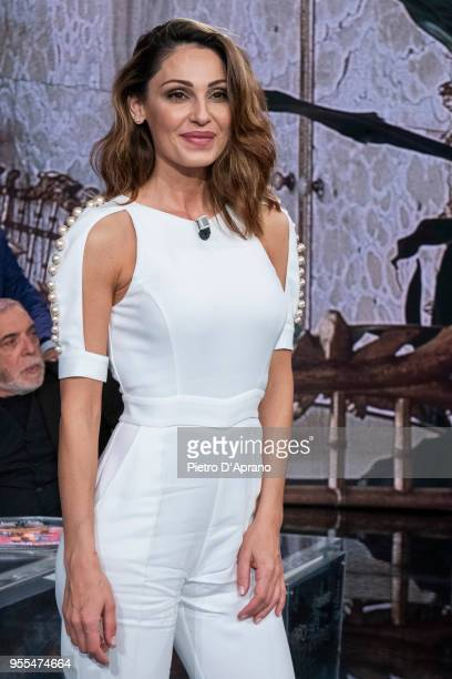 Anna Tatangelo attends 'Che Tempo Che Fa' tv show on May 6 2018 in Milan Italy