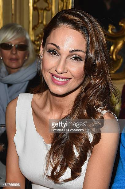 Anna Tatangelo attends the Cividini show during the Milan Fashion Week Autumn/Winter 2015 on February 28 2015 in Milan Italy
