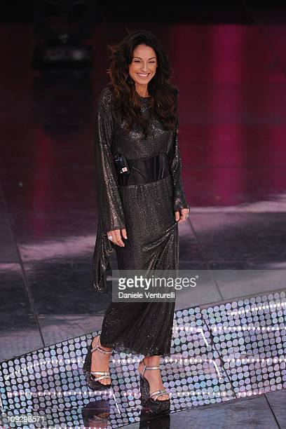 Anna Tatangelo attends the closing night of the 61st Italian Song Festival at the Ariston Theatre on February 19 2011 in San Remo Italy