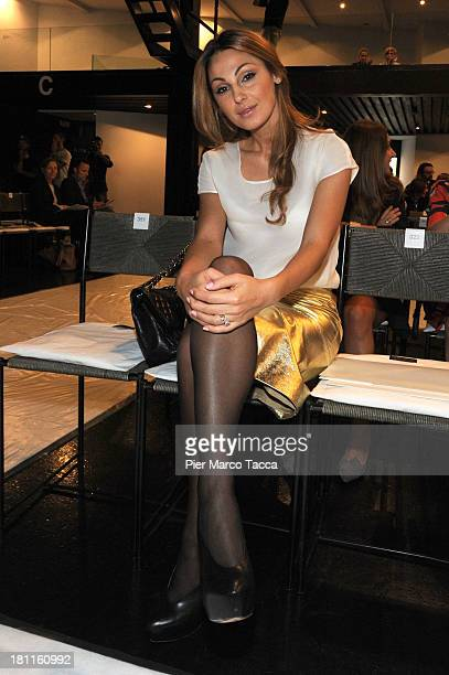 Anna Tatangelo attends the Krizia show as a part of Milan Fashion Week Womenswear Spring/Summer 2014 on September 19 2013 in Milan Italy