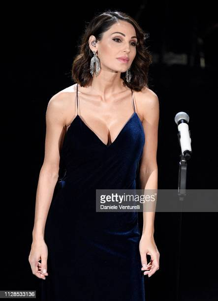 Anna Tatangelo on stage during the closing night of the 69th Sanremo Music Festival at Teatro Ariston on February 09 2019 in Sanremo Italy