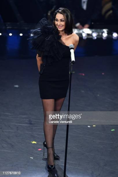 Anna Tatangelo on stage during the first night of the 69th Sanremo Music Festival at Teatro Ariston on February 05 2019 in Sanremo Italy