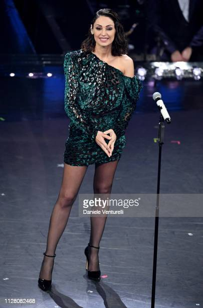 Anna Tatangelo on stage during the third night of the 69th Sanremo Music Festival at Teatro Ariston on February 07 2019 in Sanremo Italy