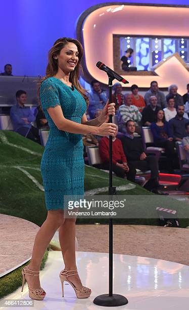 Anna Tatangelo performs at 'Quelli Che Il Calcio' Tv Show on March 15 2015 in Milan Italy