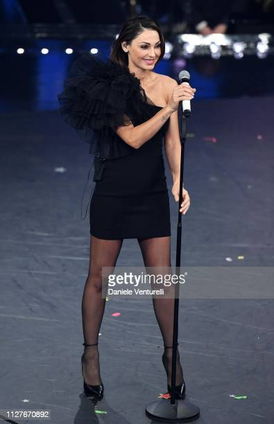 Anna Tatangelo performs on stage during the first night of the 69th Sanremo Music Festival at Teatro Ariston on February 05 2019 in Sanremo Italy