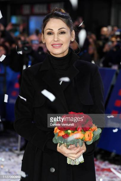 Anna Tatangelo walks the red carpet of the 69 Sanremo Music Festival Preview at Teatro Ariston on February 04 2019 in Sanremo Italy