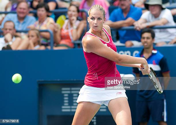Anna Tatishvili in action against Karolina Pliskova during Round 1 of the 2015 US Open at the USTA Billy Jean King National Tennis Center in Flushing...