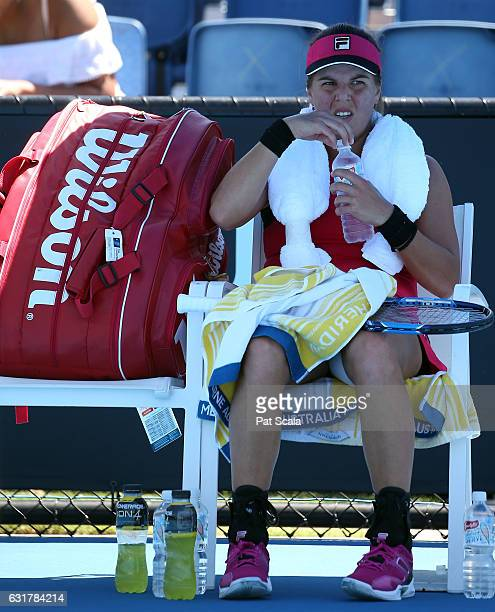 Anna Tatishvili of the USA takes a break during her first round match against Jaimee Fourlis of the USA on day one of the 2017 Australian Open at...