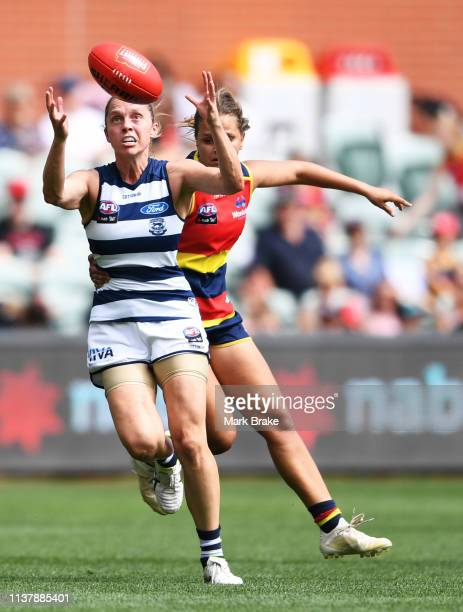 Anna Teague of the Cats marks during the AFLW Preliminary Final match between the Adelaide Crows and thew Geelong Cats at Adelaide Oval on March 24...
