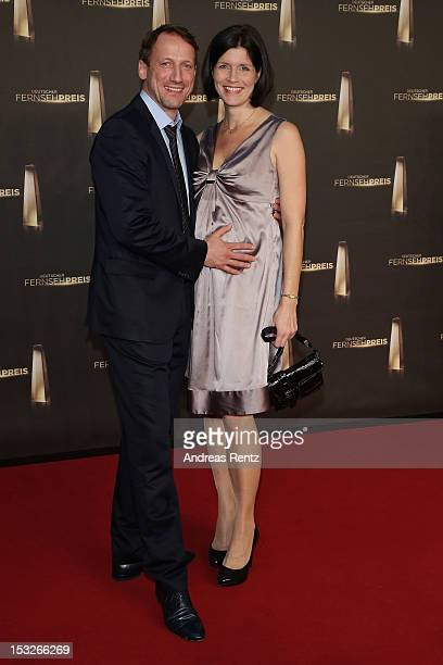 Anna Theis and Wotan Wilke Moehring arrive for the German TV Award 2012 at Coloneum on October 2, 2012 in Cologne, Germany.