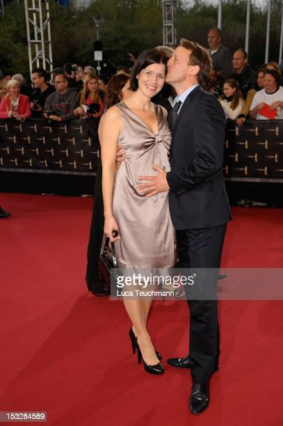 Anna Theis and Wotan Wilke Moehring arrive for the German TV Award 2012 at the Coloneum on October 2, 2012 in Cologne, Germany.