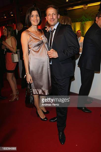 Anna Theis and Wotan Wilke Moehring with his award attend the German TV Award party 2012 at Coloneum on October 2, 2012 in Cologne, Germany.