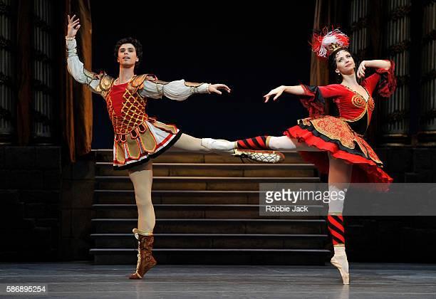 Anna Tikhomirova as Mireille de Poitiers and Artem Ovcharenko as Antoine Mistral in The Bolshoi Ballet's production of Alexei Ratmansky's revival of...
