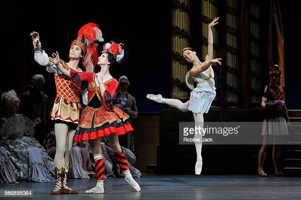 Anna Tikhomirova as Mireille de Poitiers Artem Ovcharenko as Antoine Mistral and Diana Kosyreva as Amour with artists of the company in The Bolshoi...