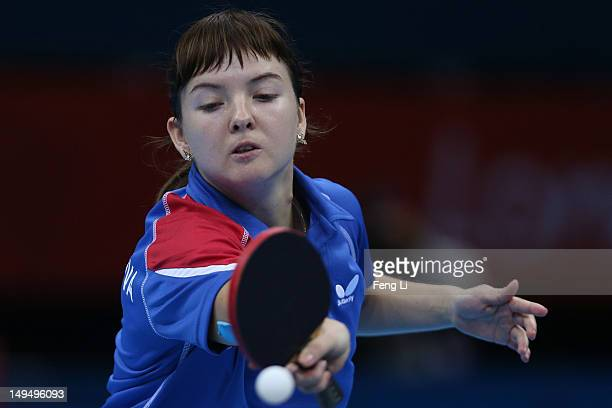 Anna Tikhomirova of Russia plays a forehand in her Women's Singles Table Tennis third round match against Ai Fukuhara of Japan on Day 2 of the London...