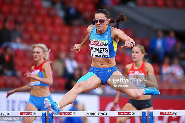 Anna Titimets of Ukraine competes in the Women's 400 metres hurdles semifinal during day three of the 22nd European Athletics Championships at...