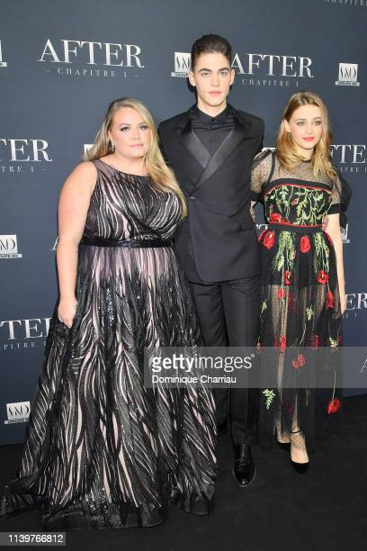 """Anna Todd, Hero Fiennes-Tiffin, Josephine Langford attends the """"After"""" Screening At Hotel Royal Monceau on April 01, 2019 in Paris, France."""