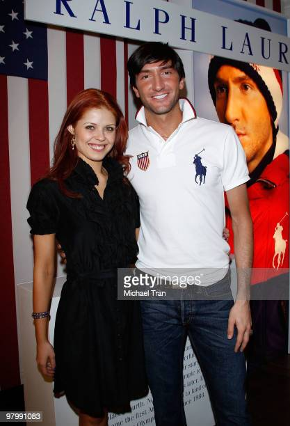 Anna Trebunskaya and Evan Lysacek arrive to Olympic gold medalist Evan Lysacek's victory party held at the Ralph Lauren Robertson store on March 23...