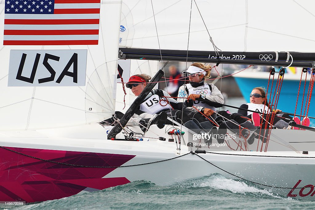 Anna Tunnicliffe, Debbie Capozzi and Molly O'Bryan Vandemoer of the United States compete in the Women's Elliott 6m WMR Sailing on Day 3 of the London 2012 Olympic Games at Weymouth Harbour on July 30, 2012 in Weymouth, England.