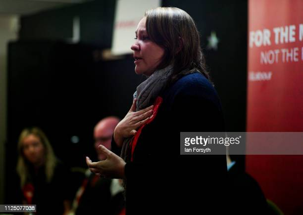 Anna Turley MP for Redcar addresses party members during the local election campaign launch for Redcar and Cleveland held in Guisborough Football...