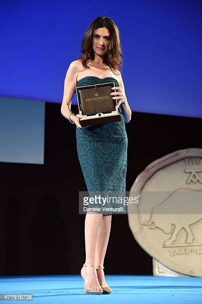 Anna Valle receives the Baume Mercier Award during Day 8 of the 61st Taormina Film Fest on June 20 2015 in Taormina Italy