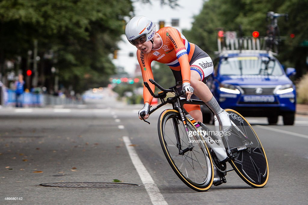Anna Van Der Bergen riding for the Netherlands National Team heads into a corner in the time trial during the UCI Road World Championships on September 22, 2015 in Richmond, Virginia.
