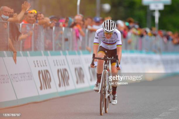Anna Van Der Breggen of Netherlands and Team SD Worx celebrates at arrival during the 32nd Giro d'Italia Internazionale Femminile 2021 - Stage 2 a...