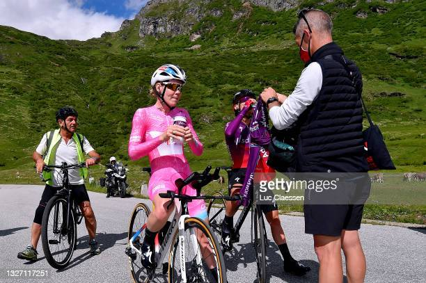 Anna Van Der Breggen of Netherlands and Team SD Worx Pink Leader Jersey & Ashleigh Moolman - Pasio of South Africa at arrival during the 32nd Giro...