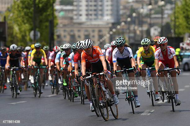 Anna van der Breggen of Netherlands leads the peloton in the Women's Road Race during day eight of the Baku 2015 European Games at Freedom Square on...