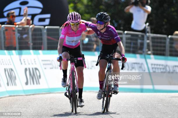 Anna Van Der Breggen of Netherlands Pink Leader Jersey & Demi Vollering of Netherlands and Team SD Worx celebrate at arrival during the 32nd Giro...