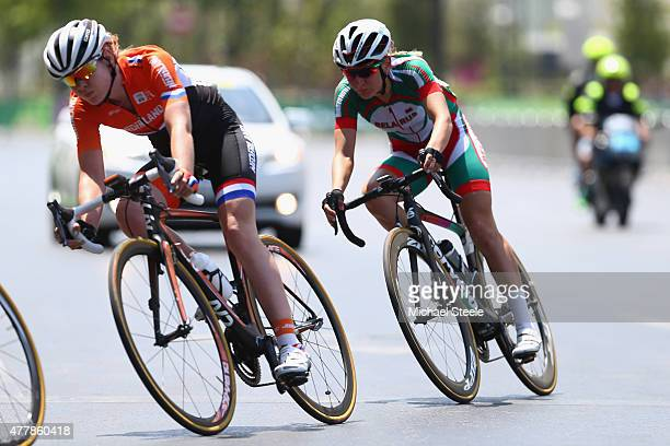 Anna van der Breggen of Netherlands tracked by Alena Amialiusik of Belarus in the Women's Road Race during day eight of the Baku 2015 European Games...