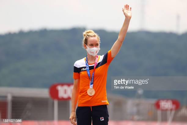 Anna van der Breggen of Team Netherlands poses with the bronze medal after the Women's Individual time trial on day five of the Tokyo 2020 Olympic...