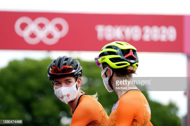 Anna van der Breggen of Team Netherlands prior to during the Women's road race on day two of the Tokyo 2020 Olympic Games at Fuji International...