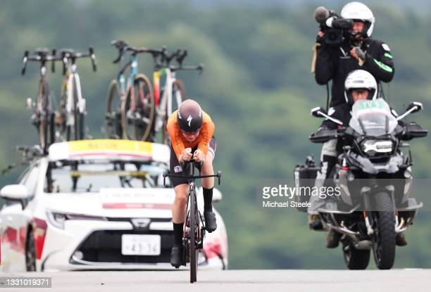 Anna van der Breggen of Team Netherlands rides during the Women's Individual time trial on day five of the Tokyo 2020 Olympic Games at Fuji...