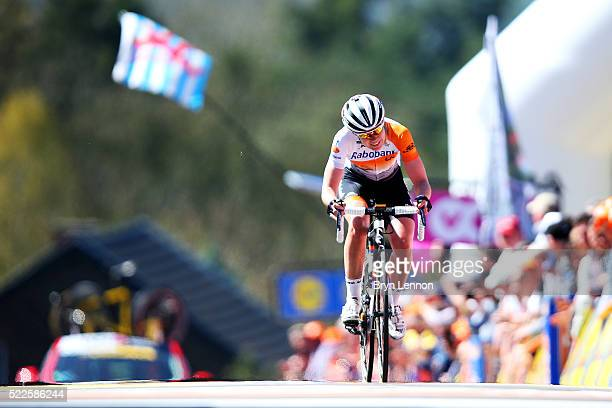 Anna van der Breggen of the Netherlands and RabobankLiv crosses the finish line to win the 19th Fleche Wallonne women's race on April 20 2016 in Huy...