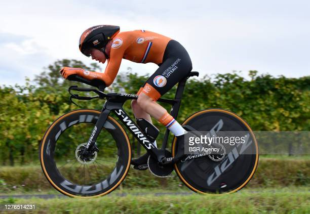 Anna van der Breggen of the Netherlands competes during the women Elite Time Trial at the UCI Road World Championships on September 24, 2020 in...