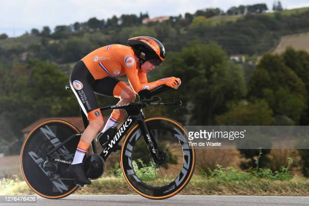 Anna Van Der Breggen of The Netherlands / during the 93rd UCI Road World Championships 2020, Women Elite Individual Time Trial a 31,7km stage from...