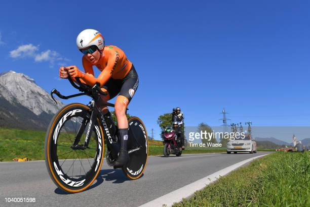 Anna Van Der Breggen of The Netherlands / Landscape / Mountains / during the Women Elite Individual Time Trial a 27,8km race from Wattens to...