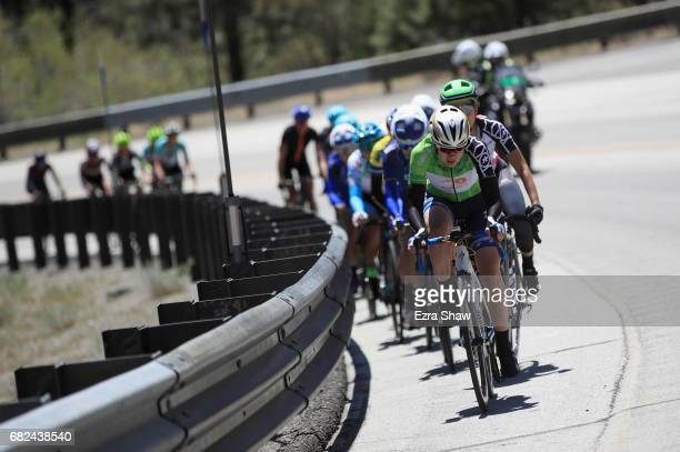 Anna Van Der Breggen of the Netherlands riding for BoelsDolmans Cycling Team leads a group of riders up a climb during Stage 2 of the Amgen Breakaway...