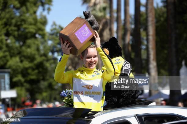 Anna Van Der Breggen of the Netherlands riding for BoelsDolmans Cycling Team celebrates after winning the Amgen Breakaway From Heart Disease Women's...