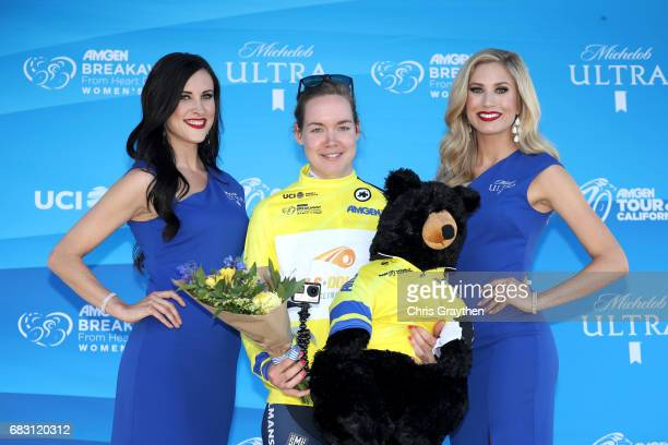 Anna van der Breggen of the Netherlands riding for BoelsDolmans cycling team stands on stage in the Amgen Race Leader's jersey after winning the...