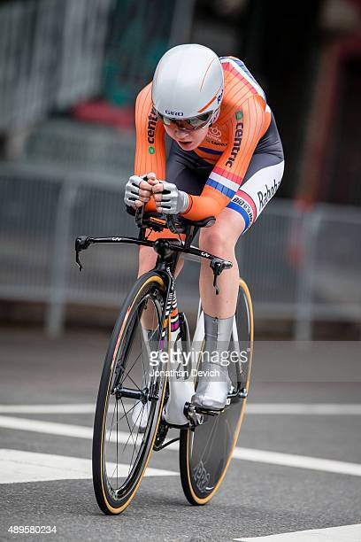Anna Van Der Breggen riding for the Netherlands National Team stays tucked into her aero bars during the time trial at the UCI Road World...