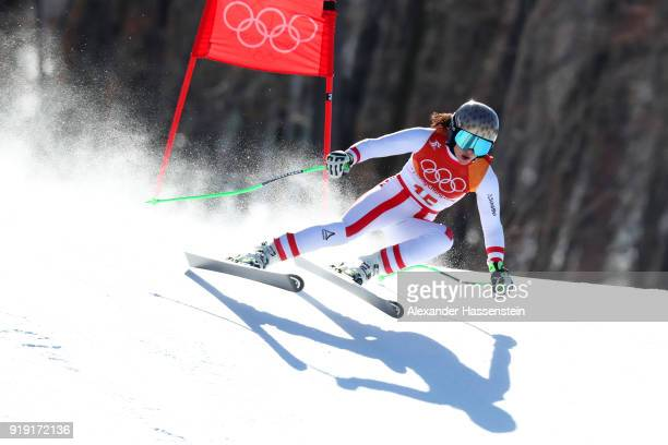 Anna Veith of Austria competes during the Alpine Skiing Ladies SuperG on day eight of the PyeongChang 2018 Winter Olympic Games at Jeongseon Alpine...