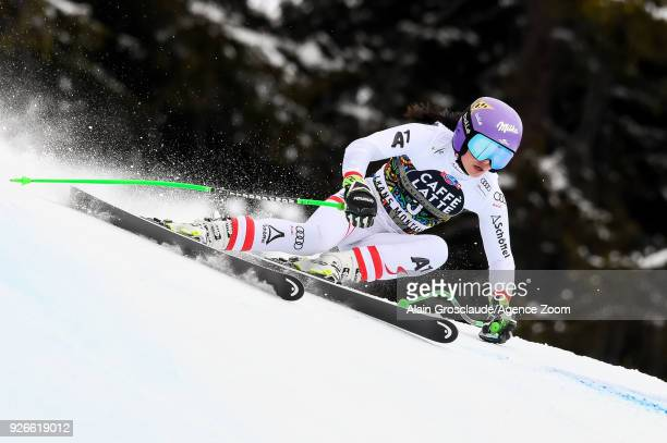 Anna Veith of Austria competes during the Audi FIS Alpine Ski World Cup Women's Super G on March 3 2018 in CransMontana Switzerland