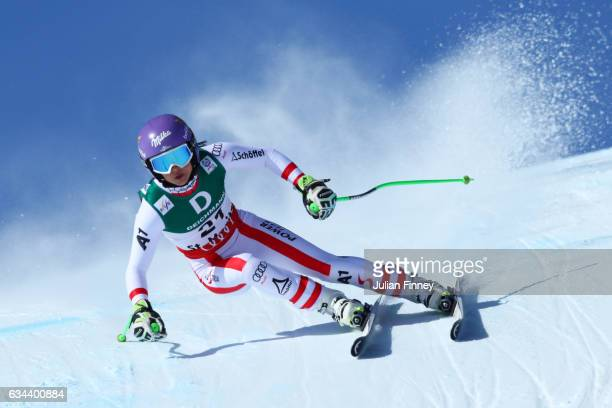 Anna Veith of Austria competes in the Ladies Downhill training on February 9 2017 in St Moritz Switzerland