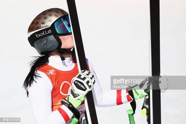 Anna Veith of Austria reacts at the finish during the Alpine Skiing Ladies SuperG on day eight of the PyeongChang 2018 Winter Olympic Games at...