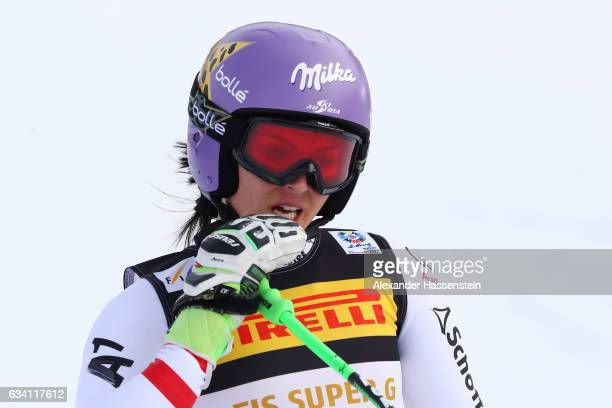 Anna Veith of Austria reacts at the finish during the Women's Super G during the FIS Alpine World Ski Championships on February 7 2017 in St Moritz...