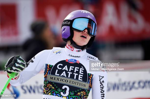 Anna Veith of Austria takes 2nd place during the Audi FIS Alpine Ski World Cup Women's Super G on March 3 2018 in CransMontana Switzerland