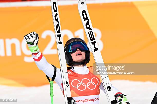 Anna Veith of Austria wins the silver medal during the Alpine Skiing Women's SuperG at Jeongseon Alpine Centre on February 17 2018 in Pyeongchanggun...